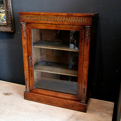 Antique Inlaid Walnut Pier Cabinet - Table Top Display Glass Fronted Curiosity