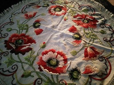 ARTS & CRAFT/Society Silk c1900s~Hand-Embroidered~Large RED POPPIES Huge Mat~37""