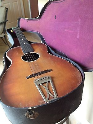 VINTAGE SILVERTONE ACOUSTIC GUITAR Collectible With Original Case Issues