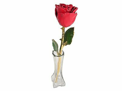 11in. 24k Gold Stem Red Coated Rose in Vase (Free Anniversary Gift Box)