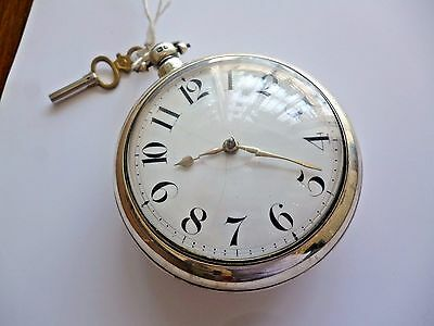 Antique Hem & Baker of Boughton Sterling Silver pair fusee pocket watch c.1845