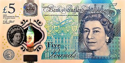 Five Pound Bank Of England 2016 New Polymer - Serial Number AA01