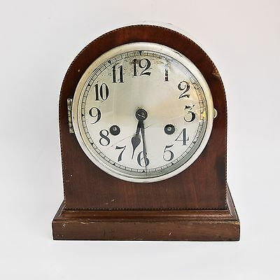 c.1920s Jahresuhrenfabrik Triberg Germany 8-DAY CHIMING WALNUT MANTEL CLOCK