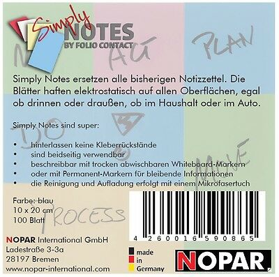 SIMPLY NOTES by Folio Contact, Haftnotizen,10 x  20 cm, blau, 100 Blatt