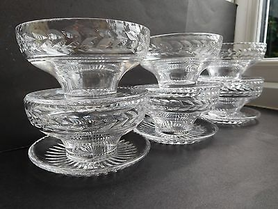 6 Stuart England cut glass dessert bowls/ attached saucers star cut base signed