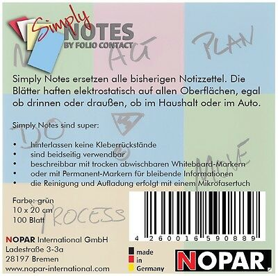 SIMPLY NOTES by Folio Contact, Haftzettel, Notizen, 10 x 20 cm, grün, 100 Blatt