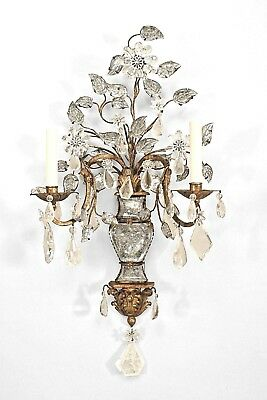 French 1940s Gilt Metal 2 Arm Wall Sconce