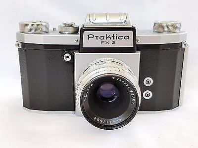 Vintage Kw Praktica Fx2 35Mm Slr Camera Carl Zeiss Jena 2.8 50 Mm Lens Lthr Case
