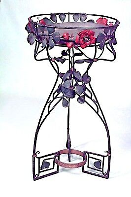 Pair of French Art Nouveau Style (20th Cent) Wrought Iron Fernery/Planter Stand