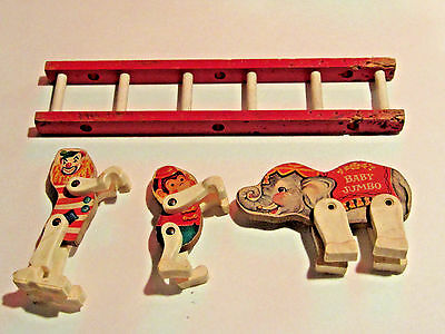 Vintage 1962 Fisher-Price Circus Ring Animals and Ladder Baby Jumbo Monkey Clown