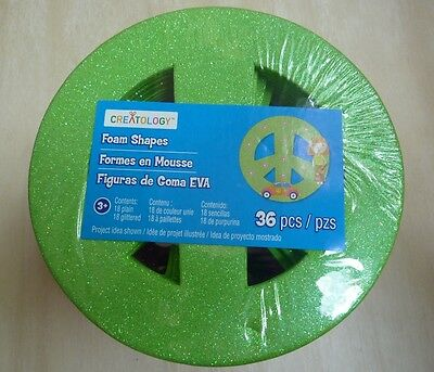Creatology peace sign foam shapes pk of 36: 18 plain 18 glittered green pink ora