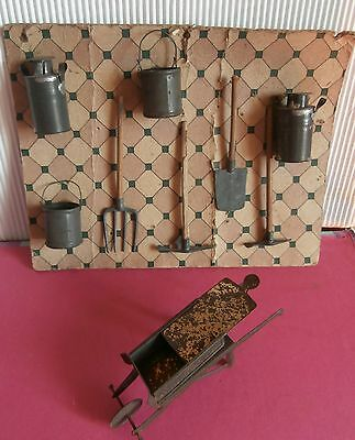 Antic miniature Tin Metal doll house /FARM/ STABLE /ACCESSORIES/ TOOLS o. plaque