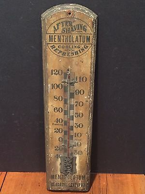Early Antique Wooden Advertising Thermometer Mentholatum After Shave c. 1880s