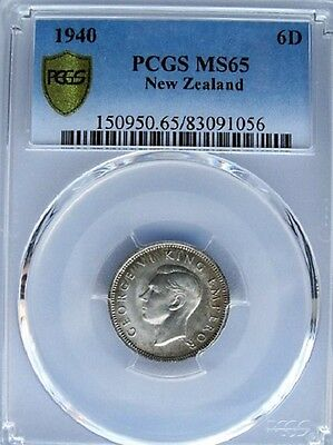 New Zealand 1940 Six Pence 6D PCGS MS 65, Silver, KM #8, Low Mintage