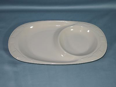 2 Longaberger Pottery Woven Traditions Ivory Handle Chili Bowl Snack Tray Set