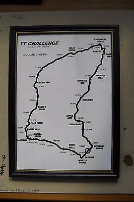 TT racing course poster, Isle of Man, framed , copy, A4.