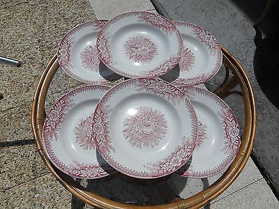 "6 Anciennes Assiettes Creuses St Amand Hamage Nord ""jardiniere"""