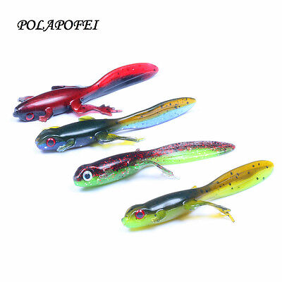 4pcs plastic Soft Lures Frog Fishing Lures Bass Trout Shad Bait Swimbait new