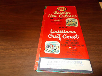 1957/58 Esso New Orleans / Lousiana Gulf Coast Vintage Road Map