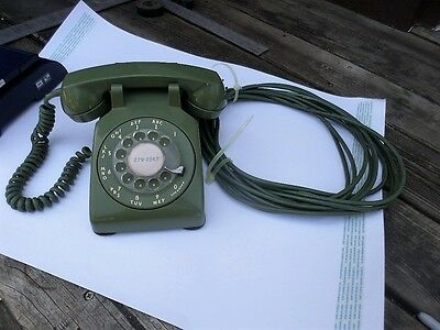 Vintage Olive Green 1950s Dial Telephone Desk Phone with long Cord Vice Conditio