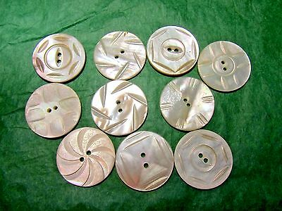 """(10) 1"""" White Pearl Shell 2-Hole Buttons Lot (N315)"""