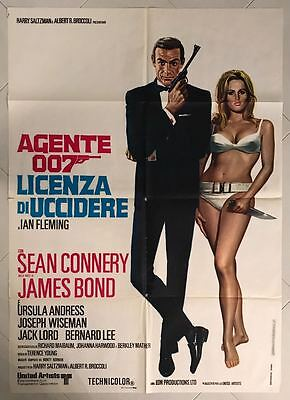 Manifesto  2F James Bond Agente 007 Licenza Di Uccidere Connery Andress Dr No