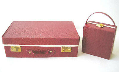 KIT 1/12th scale leather SUITCASE & Small HATBOX vintage luggage case bag RcHB