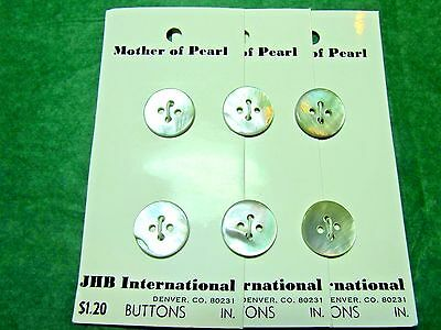 """(6)  5/8"""" Jhb White Mother Of Pearl 4-Hole Buttons 3-Card Lot (N637)"""