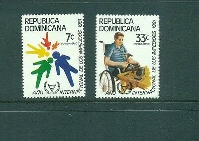 Dominican Republic 1981 Disabled Worker in Wheelchair  MLH Sc C335-336