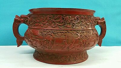 Antique Chinese Large Carved Red Lacquered Bowl With Handles