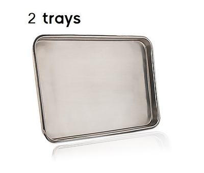 """2 Flat Trays Body Piercing Tools Medical Instrument Stainless Steel 15"""" x 10.5"""""""