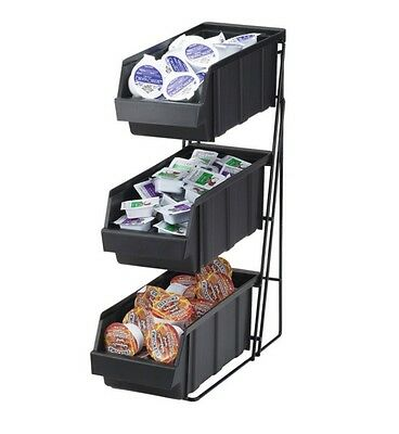 Cal-Mil #841 3 Tiers Iron Condiment Dispenser Organizer Rack with 3 Black Bins