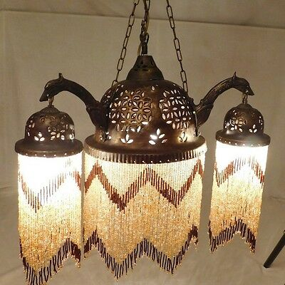 Moroccan/Syrian/Turkish Glass Beaded Chandelier Hanging Lamp Pierced Metal Light