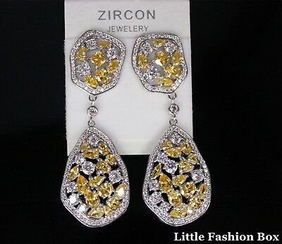 Cubic Zirconia Crystal Cluster Two Section Drop Wedding Prom Earring UK New