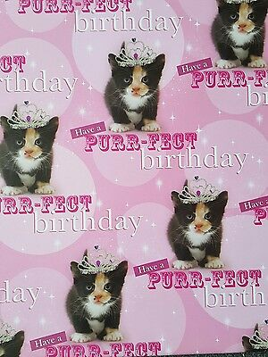 2 Sheets Of Thick Glossy Cat Wrapping Paper