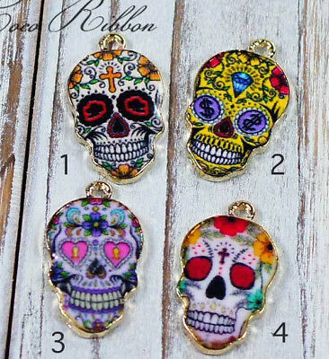 8 pieces Gold Alloy Enamel Day of the Dead Sugar Tattoo Skull Charm Pendant A18