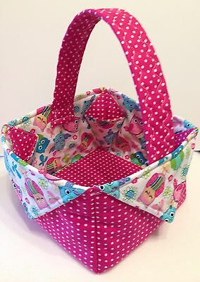 Handmade Quilted Fabric Basket, Owls Pink Polkadot, Baby Gift, Nursery Decor
