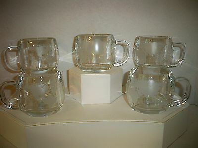 (5) Vintage Nestle Nescafe Frosted Etched World Globe Glass Coffee Mugs