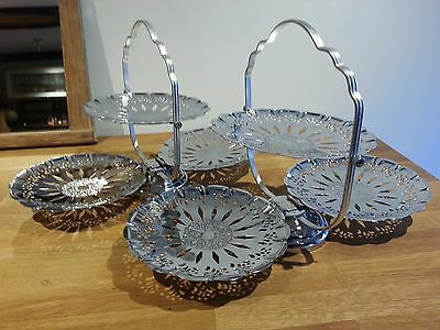 Two Vintage Chrome 3 Tier Folding Cake, Dessert Or Sandwich Stands