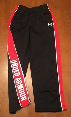 Under Armour Boys Athletic Pants Sz 7 Youth Black w/ Red Trim