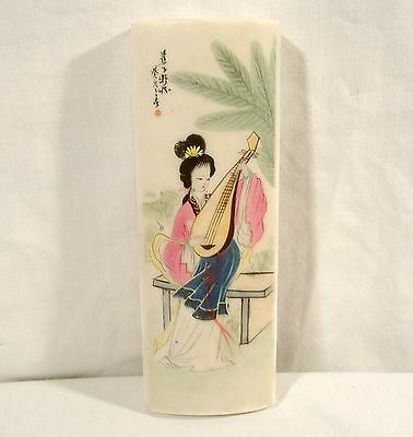 Vintage Chinese Painting on White Marble Stone Paperweight Geisha Lady Pipa Lute