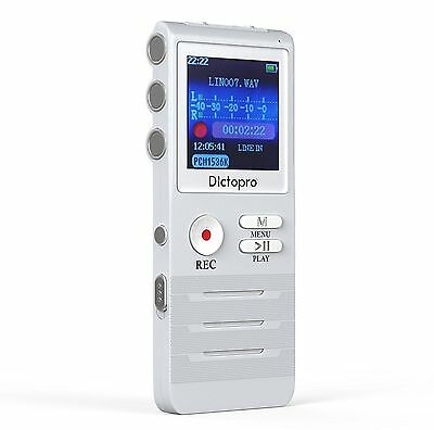 Digital Voice Activated Recorder by Dictopro Double Microphone HD Recording 8GB