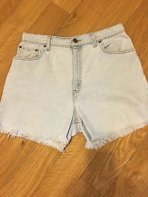 """LEVIS"" 551 Cut-Off Jean Shorts Vintage 90's Light Blue Cotton Sz 14 Waist 32"