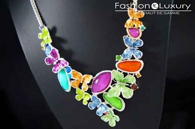 Collier papillons perles multicolores HD2-07