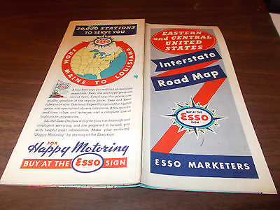 1938 Esso Eastern and Central US Vintage Road Map