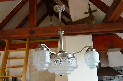 Czech Modernist Art Deco Chandelier Frosted Glass Hand Cut to Clear Shades