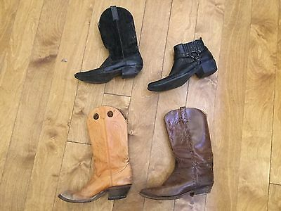 Lot of 3 vintage 70s western cowboy boots leather black tan brown Mens boots 10
