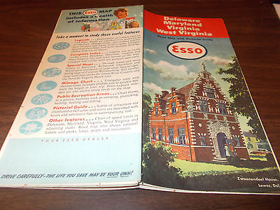 1951 Esso Delaware/Maryland/Virginia/W Virg. Vintage Road Map / Great Cover Art