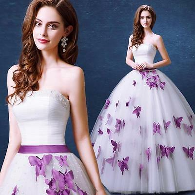 New Purple Butterfly Beads Tulle Bow Wedding Dress 2 4 6 8 10 12 14 16 18 H745