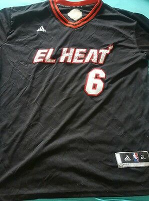 Maillot NBA MIAMI HEATS LEBRON JAMES ADIDAS TAILLE XL Latina Night